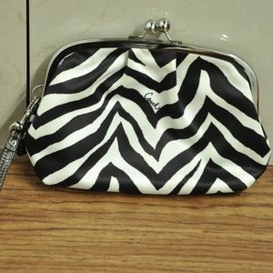 COACH SATIN ZEBRA PRINT FRAMED KISSLOCK